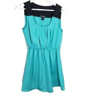 Delirious Black & Teal Dress Pleated Back Size L